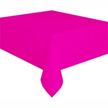 "Plastic Neon Pink Tablecloth, 108"" x 54"""